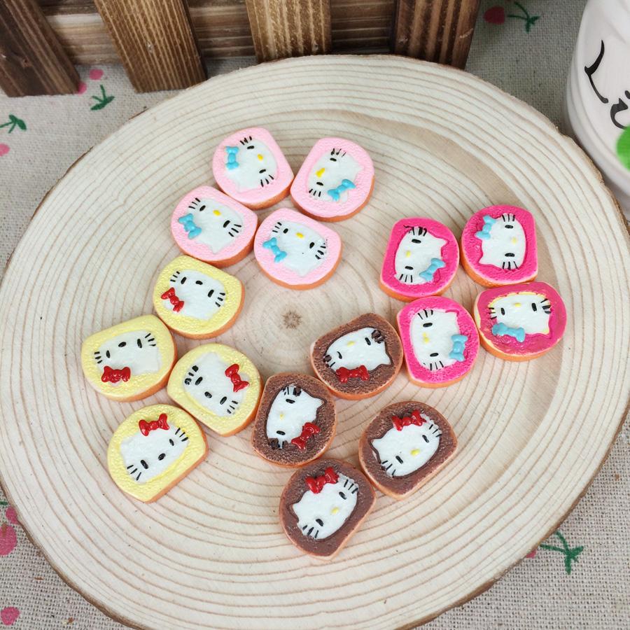 Mixed 4 Colors Kawaii Flatback DIY Hello Kitty Miniature Food Cake Resin Cabochons Flat Back Scrapbooking Embellishment:18*21mm(China (Mainland))