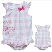 New  Fashion baby girl's pink  ribbon butterfly  plaid summer jumpsuits100% cotton  romper   free shipping(China (Mainland))