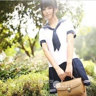 Navy sailor Suit Female Preppy Style School Uniform Pleated Class Service Set top and skirt two piece with socks(China (Mainland))