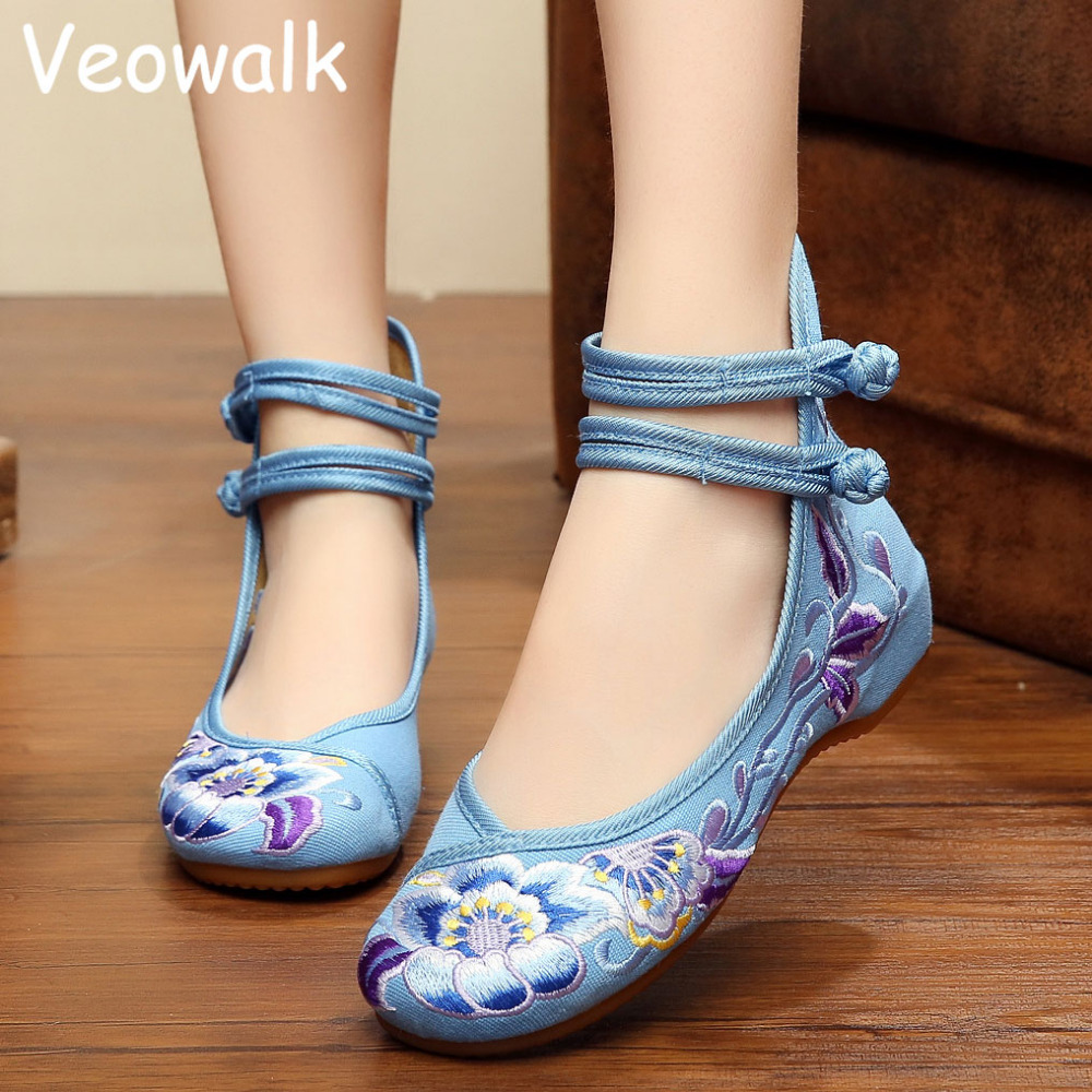 Chinese Fashion Woman Flower Embroidery Hasp Shoes Old Peking Mary Jane High Top Soft Sole Casual Flats For Women Big Size 34-41(China (Mainland))