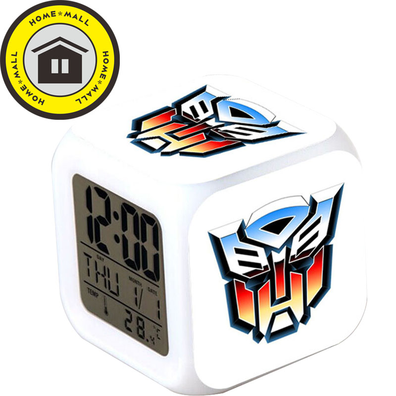 In Box With USB Charger The Transformers LED 7 Color Flash Alarm Clock Night Bedroom wekker reveil Digital Desk Clock(China (Mainland))