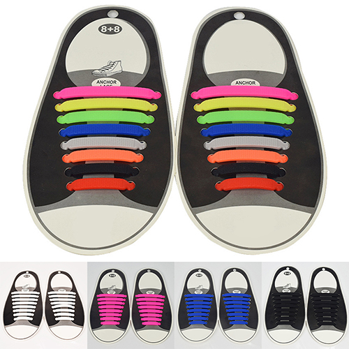 New arrival! 16Pc/Set Women Men Athletic Shoelaces Elastic Silicone All Sneakers Fit Strap