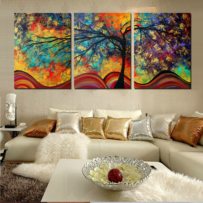 Large wall art home decor abstract tree painting colorful landscape paintings canvas picture for - Wall paintings for home decoration ...
