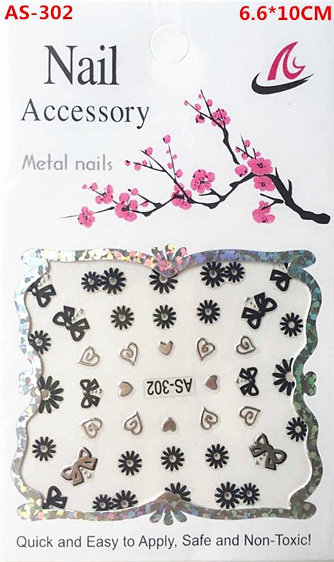 AS-302, A black and silver nail stickers, A woman's nails design adorn article beautiful women nail tools(China (Mainland))