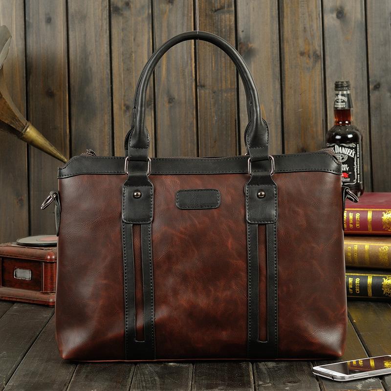 New 2016 Men Bags Crazy Horse Leather Handbags Men's Messenger Bags Shoulder Bag office work business Briefcase Free Shipping