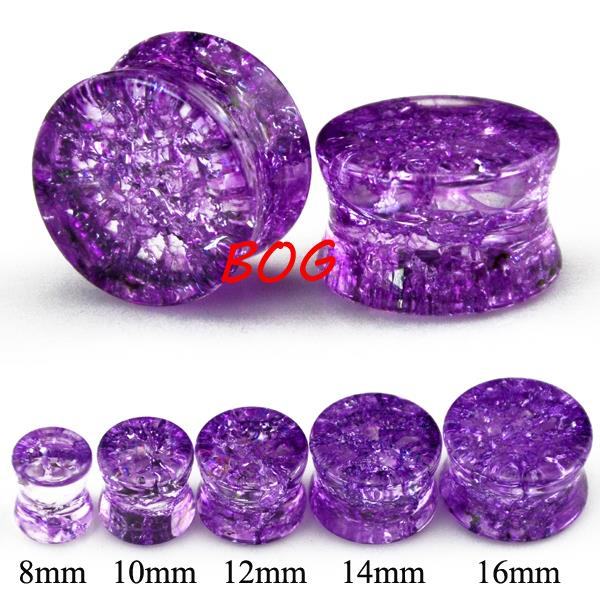 Lot 10 Pieces Shatter Crack Ear Gauge Plugs Set Broken Stone Double Flared Ear Saddle Gauge(China (Mainland))