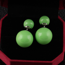 16 Colors 2014 Genuine Brand Designed Trendy Cute Charm Double Pearl Statement Ball Stud Earrings Accessories
