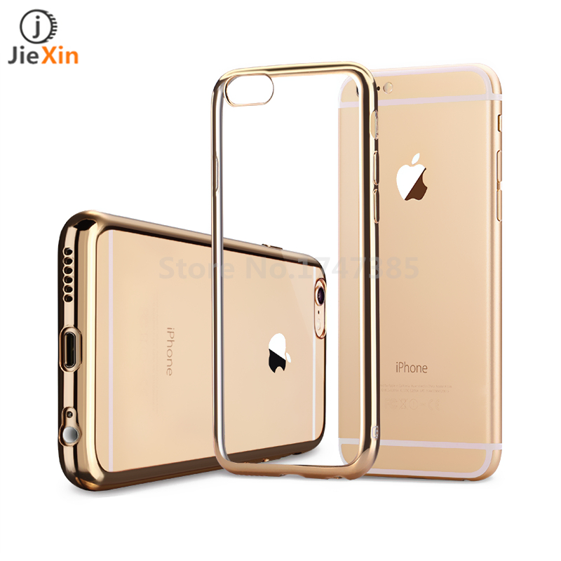 Luxury Ultra 0.6mm Thin Clear Crystal Rubber Plating Electroplating TPU Soft Mobile Phone Case For iPhone 6 6s Plus Cover bag(China (Mainland))