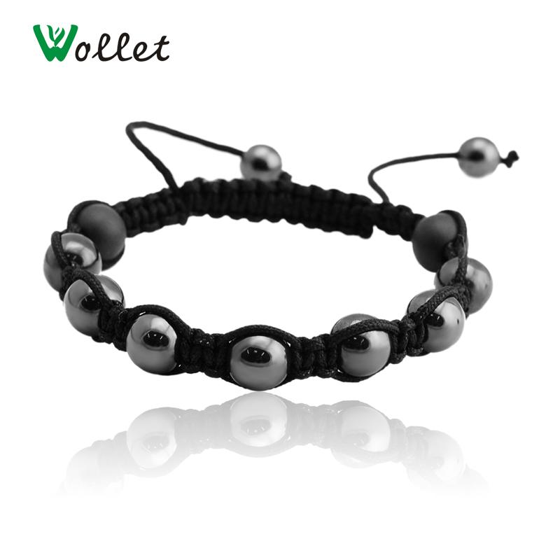 Fashion Magnetic Hematite Beads Bracelet For Men Black Round Health Energy Magnet Jewelry(China (Mainland))