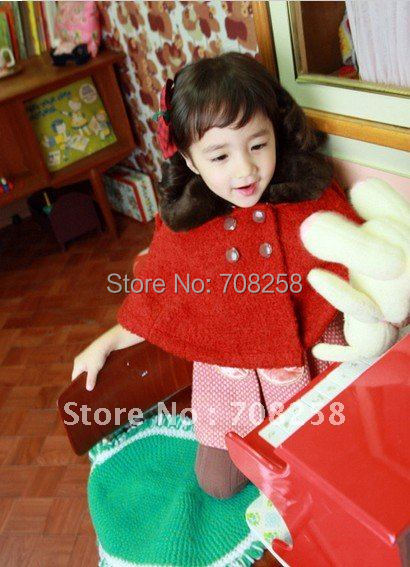 4pcs- Baby Girls Fashion jacquard crepon Collar overcoat, Childrens Red Thicken Cloak/cape, free shipping, 697#<br><br>Aliexpress