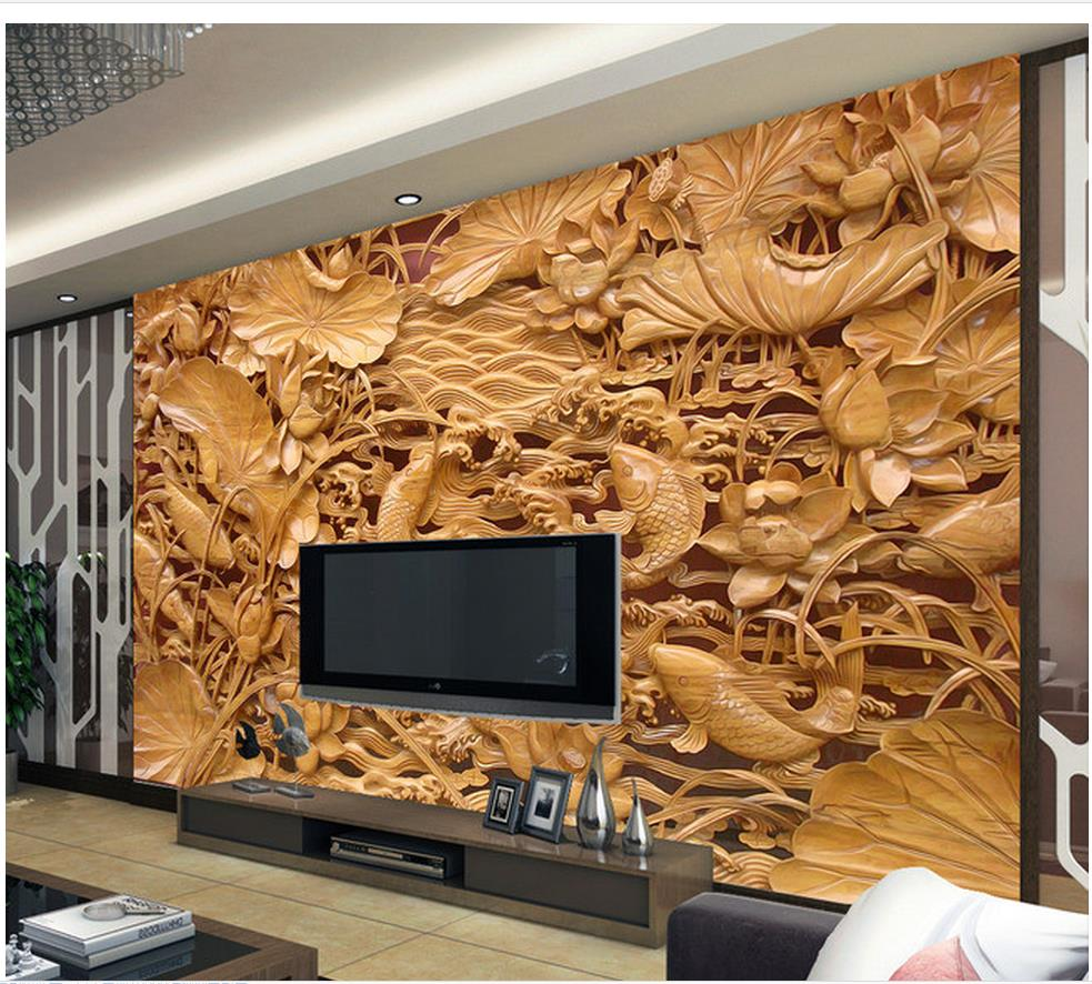 3d name wallpapers Home Decoration Classical carved wooden mural TV backdrop pond wall mural photo wallpaper(China (Mainland))