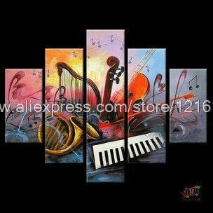 Free Shipping Hand Painted Piece Oil Painting On Canvas Wall Art Musical Instruments Picture For Living Room Hand Painted##(China (Mainland))
