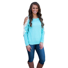 New Fashion Women Lace Crochet T Shirt Hollow Out Cold Shoulder Patchwork Long Sleeve Top tshirt Camisetas Mujer Blue(China (Mainland))