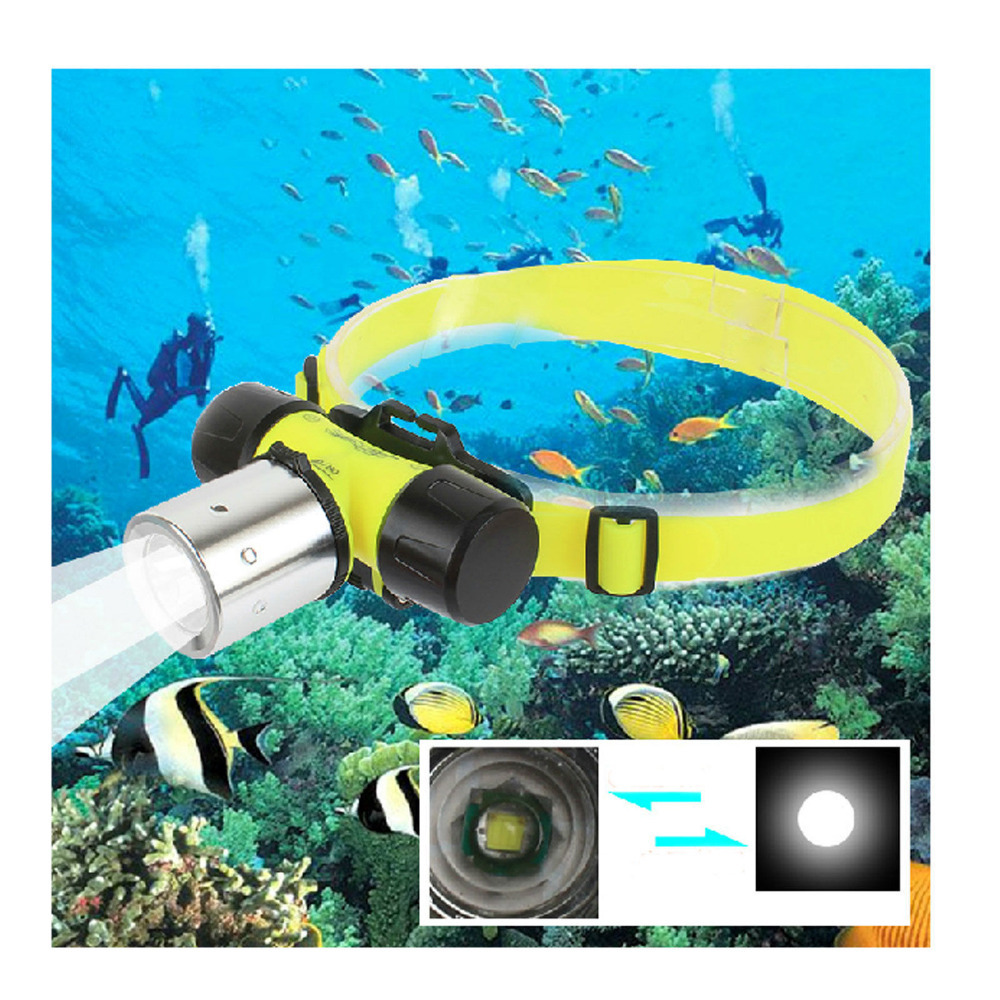 Гаджет  1800 Lumen XM-L XML T6 LED underwater Waterproof 60m Swimming Diving Headlamp Headlight Dive head light torch lamp None Свет и освещение