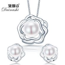 2015 мода большой цветок стерлингового серебра 925 ювелирные наборы подвеска и ожерелье с s925 цепи для женщин ювелирные изделия перлы набор на продажу(China (Mainland))