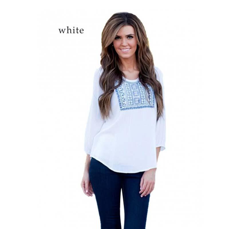Women vintage t shirt o neck 3 4 sleeve geometric print for Plus size 3 4 sleeve tee shirts