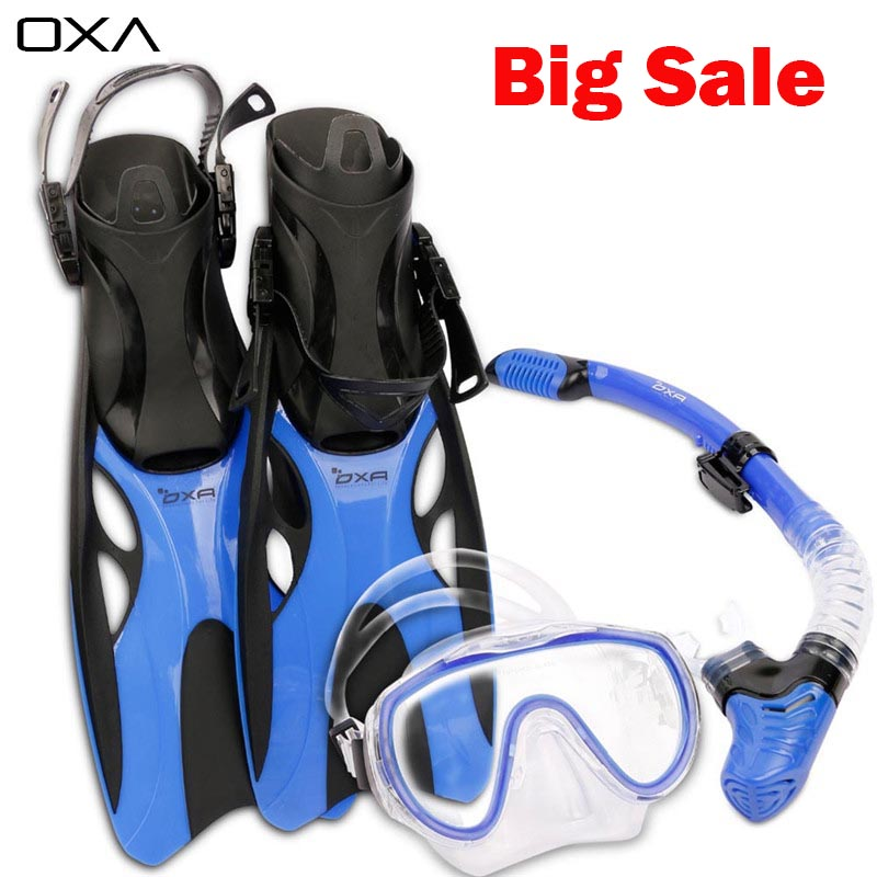 OXA Adult Adjustable Diving Long Fins Snorkeling Foot Flippers Swimming Scuba Diving Mask Snorkel Set Dive Fins(China (Mainland))