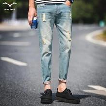 2016 men's new hole retro jeans worn denim trousers fashion men straight jeans stitching multi hole wind wash jeans size 28-38