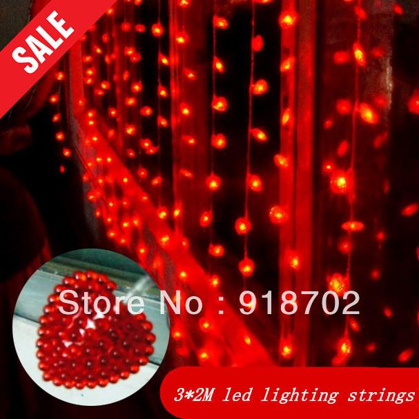 Фотография Hot sale 3*2m red Heart led lighting strings Colored lights  Windows background light interior lights AC220V IP67 free shipping