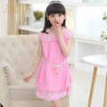 Girl Dress Kids Summer Style Clothes Chiffon Casual Girls Clothing Pearls Lace Collar with Girdle Belt