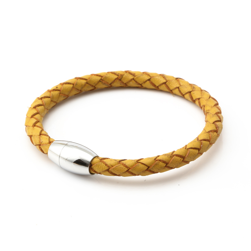 BOGVLI yellow leather bracelet woman Stainless Steel Genuine leather bracelet for women gifts(China (Mainland))