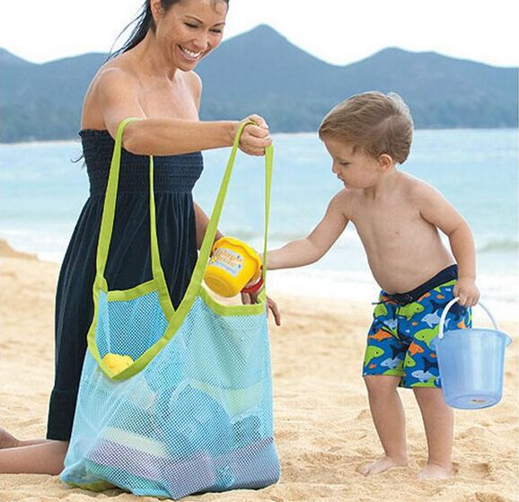 extra large sand away beach mesh bag Children Beach Toys Clothes Towel Bags baby toy collection bag(China (Mainland))