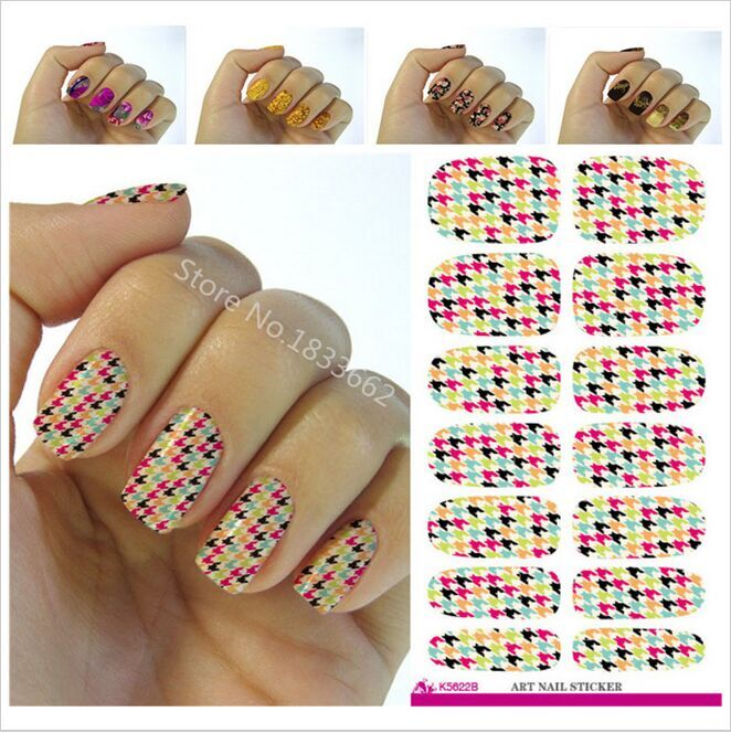 Nail sticker water Colored Houndstooth Pattern Designs Manicure Decals Fashion Water Transfer Fingernail Foils Stickers adhesive(China (Mainland))