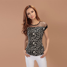 Fashion Women Leopard Chiffon Sheer Tops Blouse Crew Neck Contrast Shirts Summer YT871