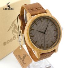 Bamboo Watch Men Luxury Brand BOBO BIRD Quartz Leather Band