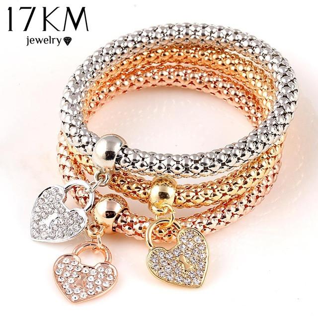 2016 Gifts 3Pcs Gold Filled Heart Charm Elastic Bracelets For Women Pulseras Bracelet Cute Multilayer Bangles pulseira feminina(China (Mainland))