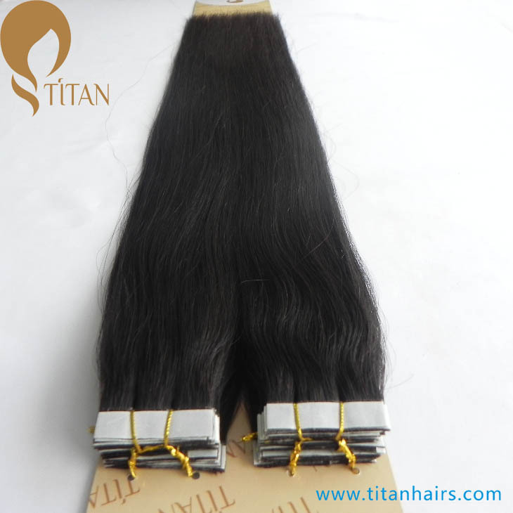 "Free shipping 24"" natural black Indian remy human tape hair extensions 2.5g/piece 60pieces full head(China (Mainland))"