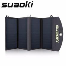 Suaoki 25W Portable Foldable Solar Panel Charger Battery Solar Power Bank Sunpower DC 5V 4A Charging Bag Powerbank Dual-port(China (Mainland))