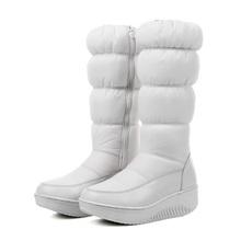 EGONERY zapatos 2017 mujeres de la manera rodilla botas altas de invierno informal abajo botas de nieve populares dedo del pie redondo slip-en los zapatos alta calidad(China (Mainland))