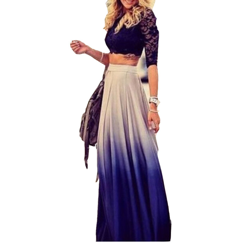 Cool Floral Long Skirt Women 2015 New Fashion Chiffon Skirts Full Body