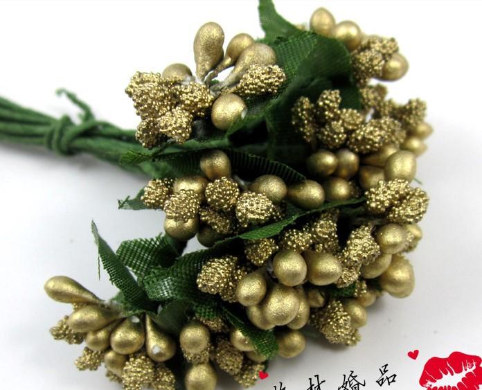 144pcs/bag gold Artificial Mini Foam Flower Wedding Favors Candy Boxes DIY craft Bridal Party Decoration 10color wa002(China (Mainland))