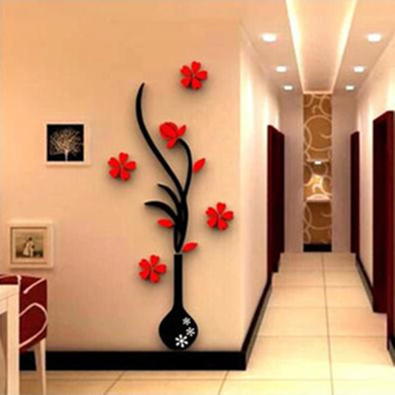 DIY 3D Plum Vase Wall Stickers Home Decor Wall Decals Adesivi ...