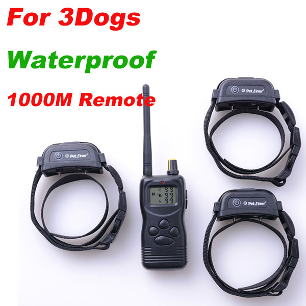 1000M Waterproof Remote Pet Dog Training Collar System For 3 Dogs Top Quality DHL Free Shipping(China (Mainland))