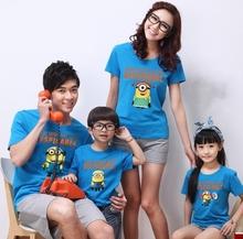 Minions Print Baby Girl Boy T Shirt Family Set Clothing 2015 New Summer Style Fashion Vintage Children Cartoon Tees Kids Clothes(China (Mainland))