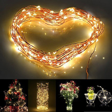 Fetoo 10M 33ft 100 led 3AA battery powered outdoor 2pc copper wire string lights for christmas festival wedding party decoration(China (Mainland))