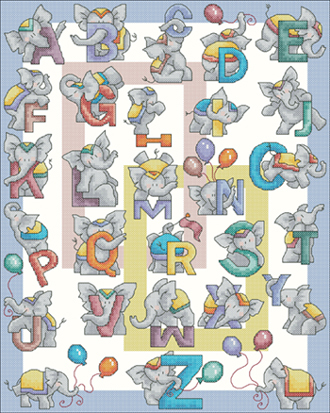 X.X.FISH Cross Stitch,A693cartoon[elephant letter]children the alphabet,printing,100% accurate pattern,11CT,Need to embroidery(China (Mainland))