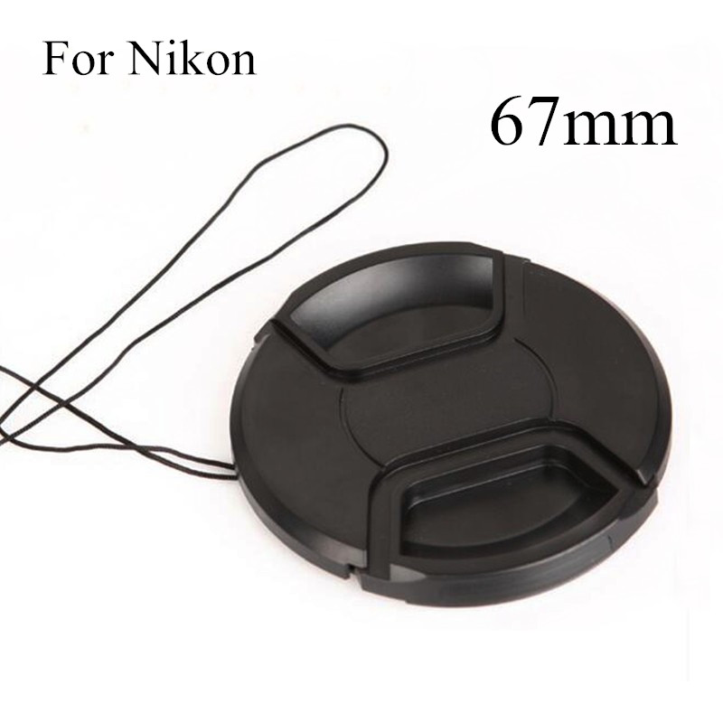 67mm Black Plastic Center Pinch Snap on Cap Cover LOGO Anti lost Rope for Nikon 67