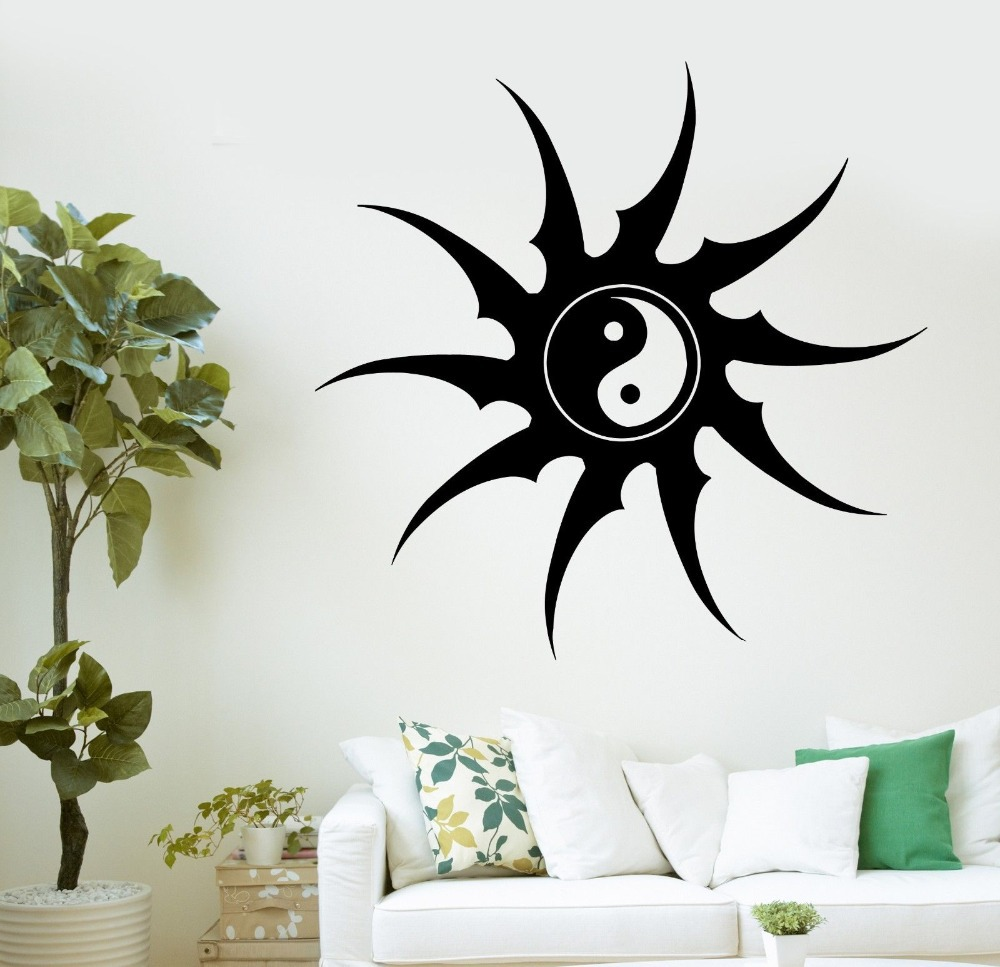 2015 new arrival religion vinyl decal buddha yin yang zen for Deco mural zen