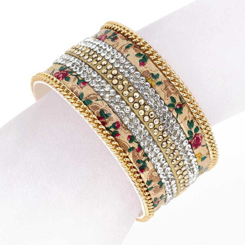 Fashion Leather Flowers Bracelet Multilayer Rhinestone Chain Fringe Combination Gold Silver-plated magnetic bracelets & bangles(China (Mainland))