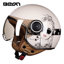 Beon Moto Bersepeda Scooter Helm 3/4 Wajah Terbuka Halmet Moto Cross Vintage Casque Moto Casque Casco Moto Cicleta Capacete 110b(China)