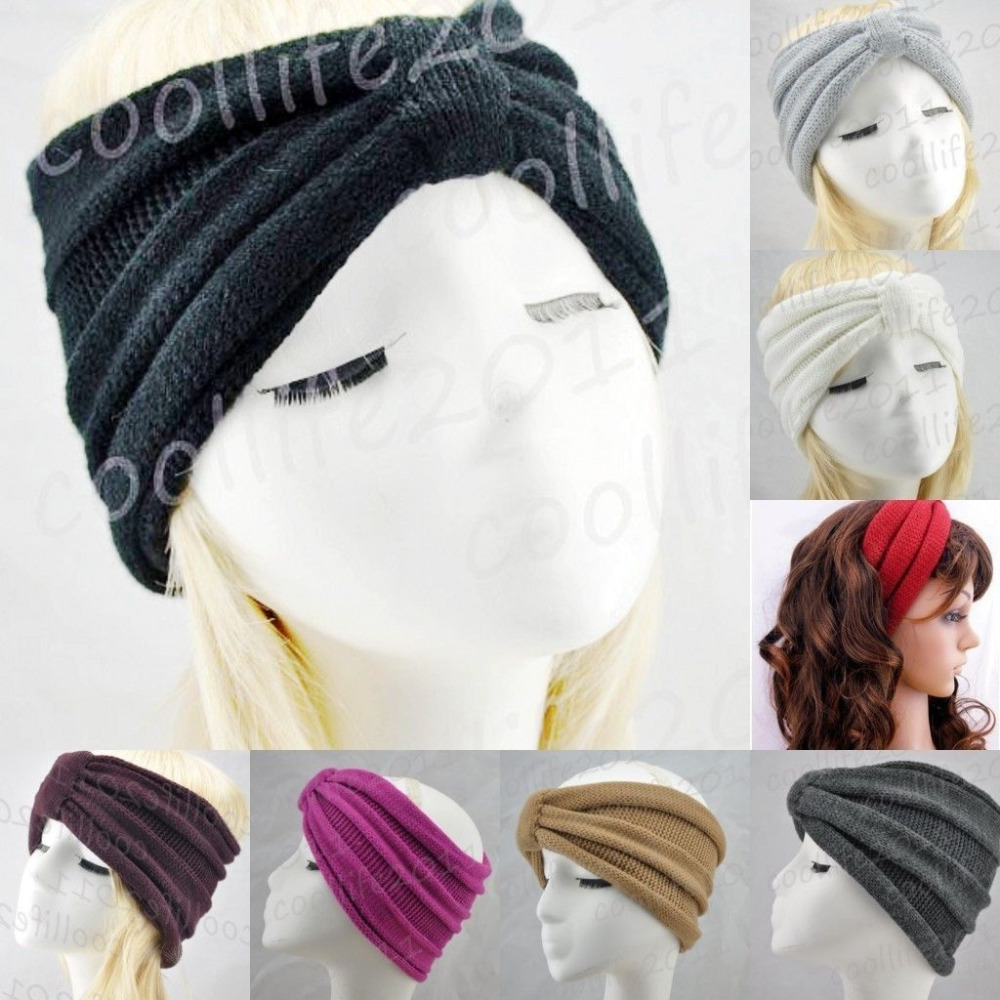 Free shipping ,NEWST Style knit Headband Beanie Ear Warmer Knitted headwrap turban bow(China (Mainland))