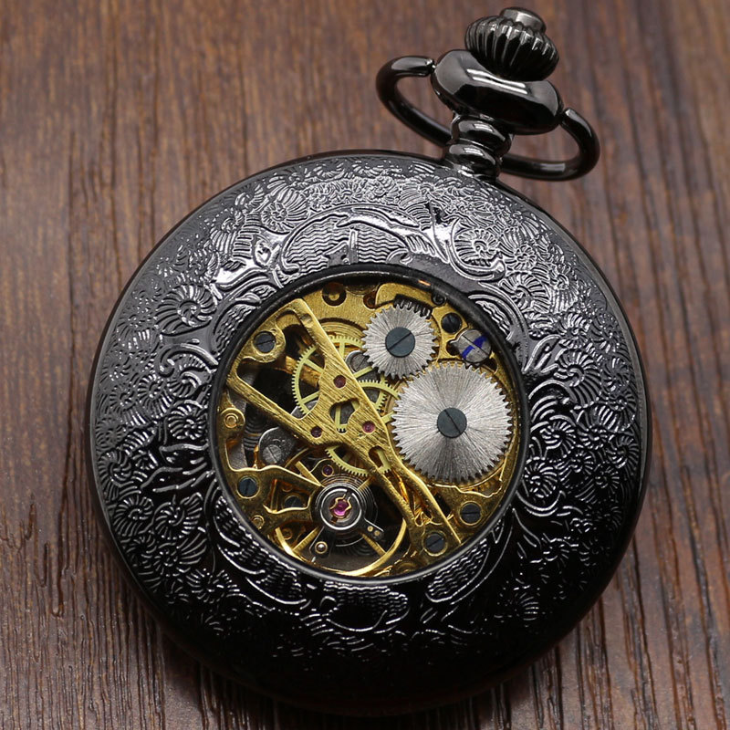 Hollow Vintage Semi Automatic Skeleton Mechanical Pocket Watch Chain Mens Gifts P807WBWB - Guangzhou Conbays Technology Co., Ltd. store