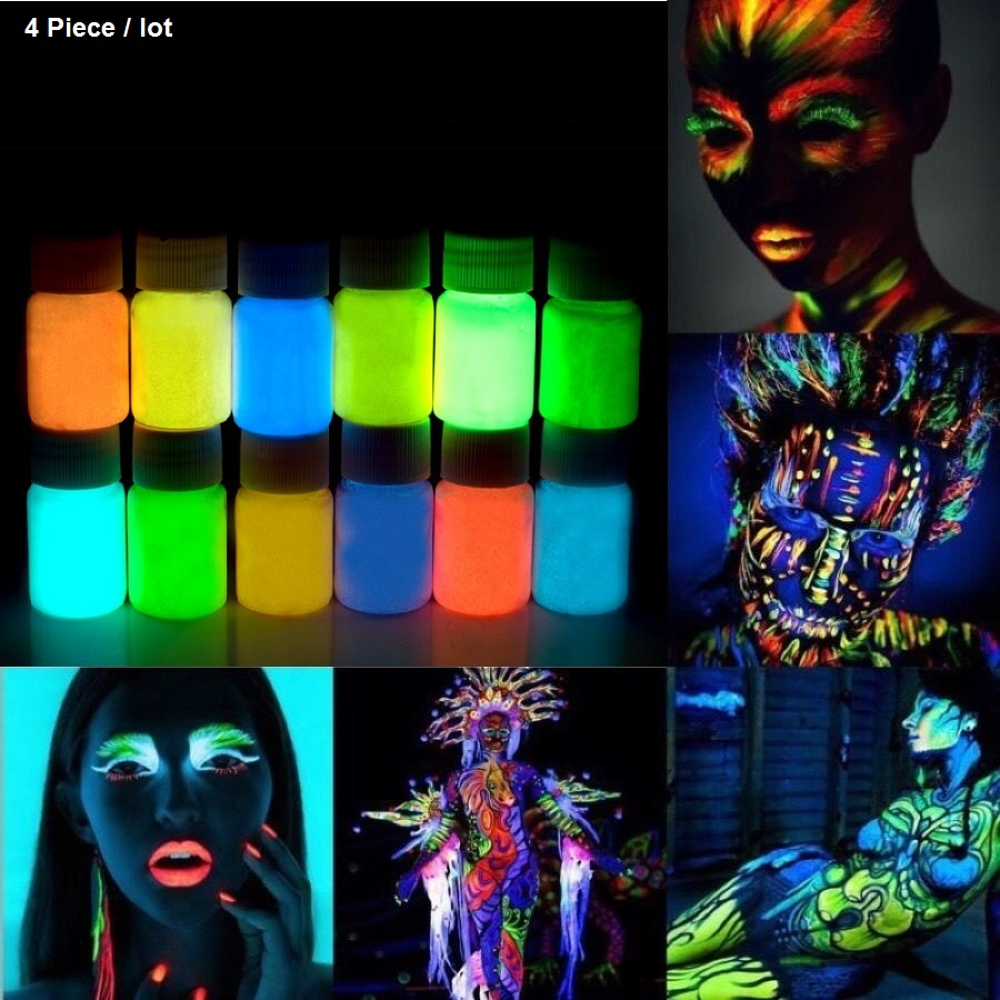 4 X Glowing paint glow in the dark Face body Paint 25g for party, Easter 12 Colors lumious Acrylic Paints(China (Mainland))
