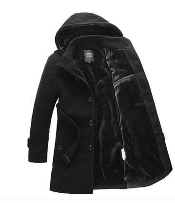 Free shipping hooded mens wool coats black grey stylish pea coats men clothing classic casual overcoats winter warm belt M - 4XL(China (Mainland))