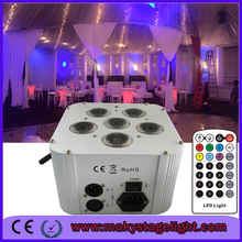 RGBWA+UV DMX Battery Powered LED Par 6in1-18watt led uplight with remote /6*18W christmas party uplight(China (Mainland))
