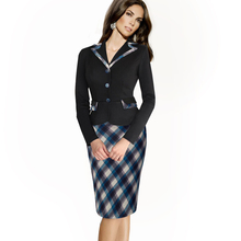 Autumn Vintage Plaid Polka Dot Sheath Formal Work Dress Buttons Notched Full Sleeve Business Casual Midi Pencil Dress btyB246(China (Mainland))